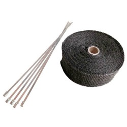 30 Meter Exhaust Heat wrap tape pipe heatproof BLACK + 15 Clamp